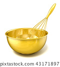 Golden bowl with a wire whisk. 3D 43171897