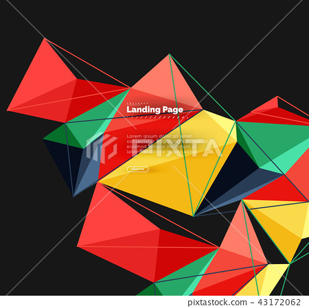 Vector 3d triangle abstract background, polygonal geometric design 43172062