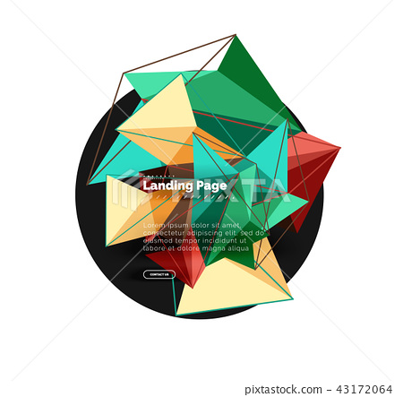 Vector 3d triangle abstract background, polygonal geometric design 43172064