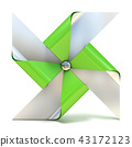 Pinwheel toy, four sided. 3D 43172123