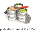 Metal tin cans with green paint and paintbrush. 3D 43172152