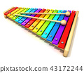 Xylophone rainbow colored keys and two drum stick 43172244