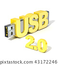 USB flash memory 2.0, made with the word USB. 3D 43172246