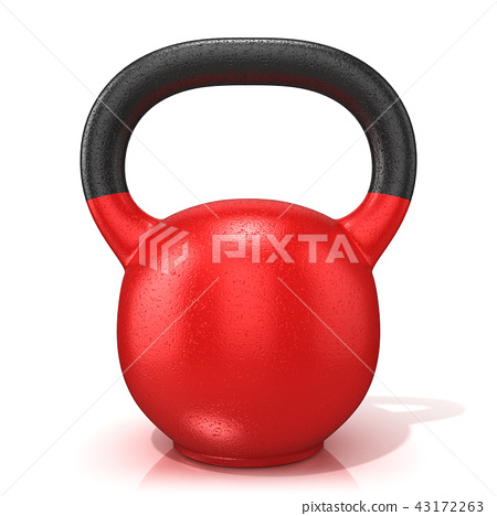 Red kettle bell weight, isolated on a white 43172263