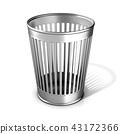 Empty metal trash bin 43172366