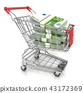 Money, euro cash banknote in trolley shopping cart 43172369