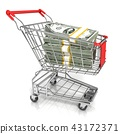 Money, dollar cash in trolley shopping cart 43172371