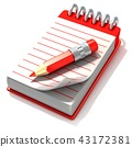 Red notepad and red pen, 3D 43172381
