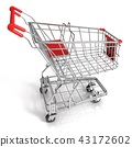 Red shopping cart 43172602