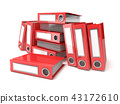 Batch of binders, red office folders. 3D 43172610