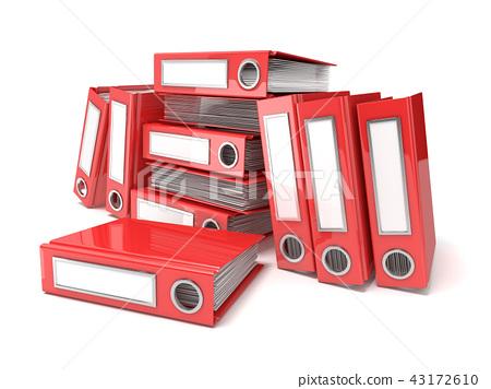 Batch of binders, red office folders. 3D 43172610