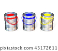 Metal tin cans with basic colors 43172611