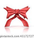 Red ribbon bow with tails, 3D 43172727