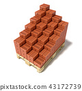 Euro pallet and cascade arranged ceramic bricks 3D 43172739