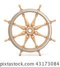 Wooden ship wheel 3D 43173084
