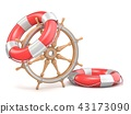 Wooden ship wheel and two life buoys 3D 43173090