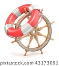 Wooden ship wheel and life buoy 3D 43173091