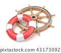 Wooden ship wheel and life buoy 3D 43173092