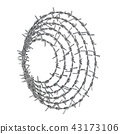 Spiral barbed wire side view 3D 43173106