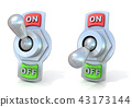 On and off metal toggle switches. 3D 43173144