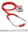 Red stethoscope, 3D 43173199