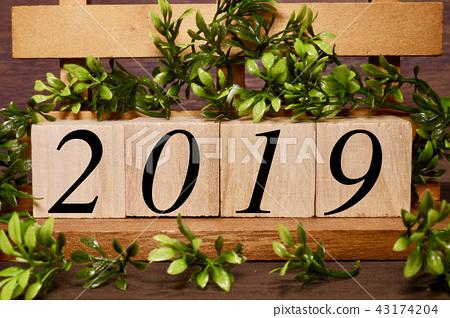Calendar with 2019 green 43174204