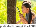 여자아이, 관찰, 돋보기 43174289
