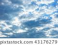 วัสดุพื้นหลังท้องฟ้าพระอาทิตย์ตกท้องฟ้าสีฟ้าเมฆ 43176279