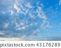 วัสดุพื้นหลังท้องฟ้าพระอาทิตย์ตกท้องฟ้าสีฟ้าเมฆ 43176289