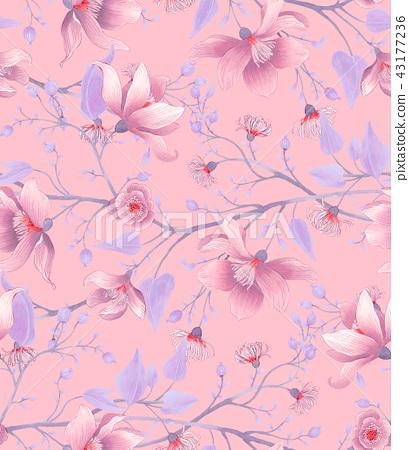 無縫復古玉蘭花玫瑰花花卉 43177236