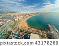 Aerial view of Barcelona Beach in Spain 43178269
