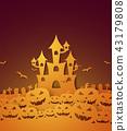 Halloween with castle , pumpkin 43179808