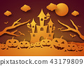 Halloween with castle and pumpkin in the moon 43179809