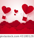 Valentines day , Hot air balloon in a heart shape 43180126