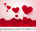 Valentines day , Hot air balloon in a heart shape 43180173
