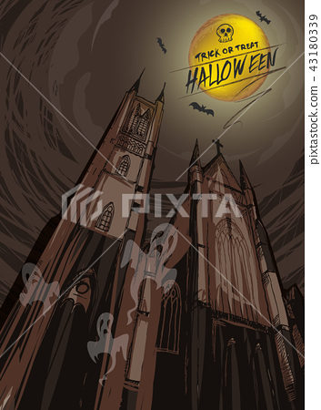 cartoon background halloween,haunting church 43180339