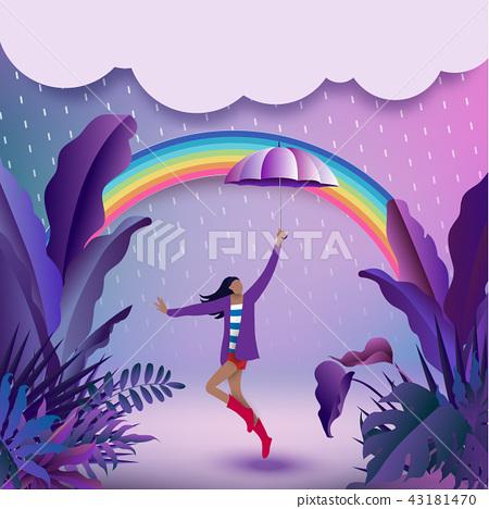 Cheerful girl holding an umbrella 43181470