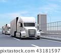 運行在高速公路的白色燃料電池卡車的圖像 43181597