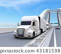 運行在高速公路的白色燃料電池卡車的圖像 43181598