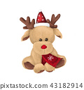 Cute winter deer with red scarf and santa hat 43182914