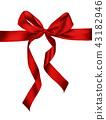 Shiny red satin ribbon on white background 43182946