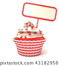 Strawberry cupcake and blank board. 3D 43182956