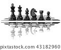 Chess black and white pieces, standing 43182960