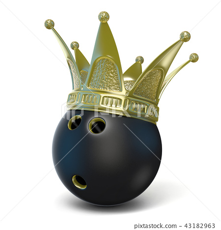 Golden crown on black bowling ball. 3D 43182963