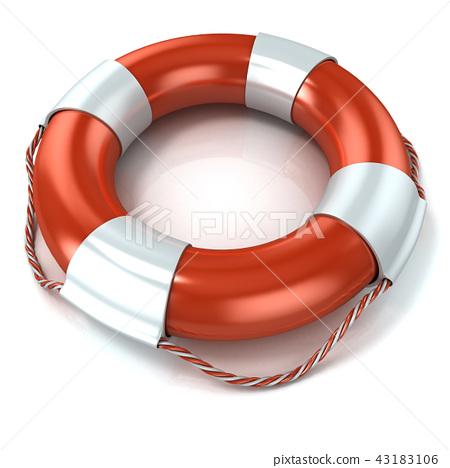 Lifebuoy isolated on white 43183106
