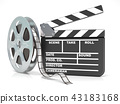 Film reel and movie clapper board. Video icon. 3D 43183168