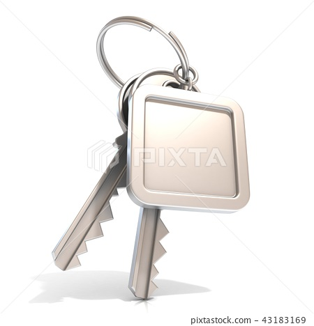 Two door keys and square blank label on ring. 3D 43183169