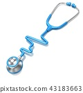 Blue stethoscope in shape of ECG line 3D 43183663