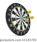 Dartboard with three orange darts on bullseye 43183785