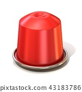 Red coffee capsule. 3D 43183786